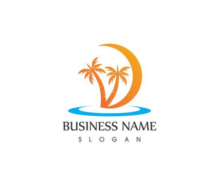 Vettore del logo delle vacanze sulla spiaggia dell'onda dell'albero di cocco