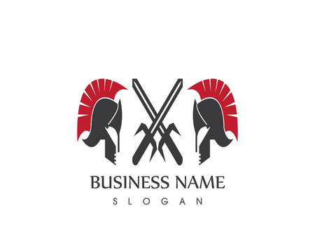 Spartan helmet logo design vector template