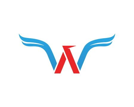 w Letter Wings Logo Template