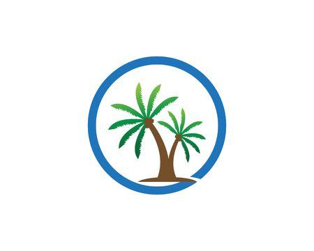Modello di progettazione del logo dell'albero di cocco Logo