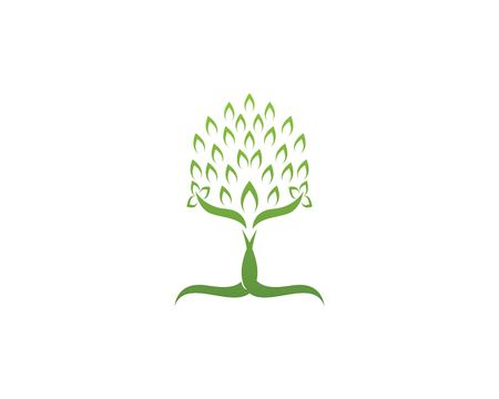 Tree icon concept of a stylized tree with letter  Illustration