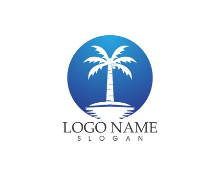 Coconute tree logo vector template Illustration