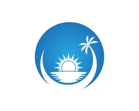 Beach hollidays icon logo vector trmplate Illusztráció