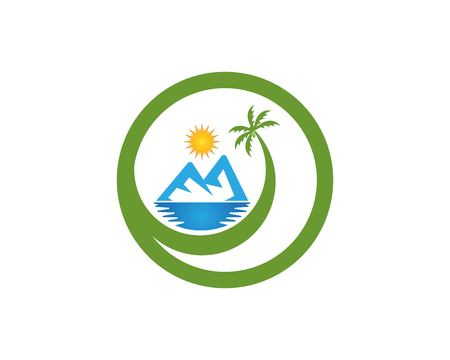 Beach hollidays icon logo vector trmplate Иллюстрация