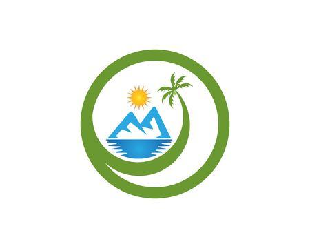 Vacanze in spiaggia icona logo vettoriale trmplate