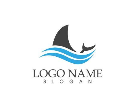 Shark fish icon logo vector Illustration