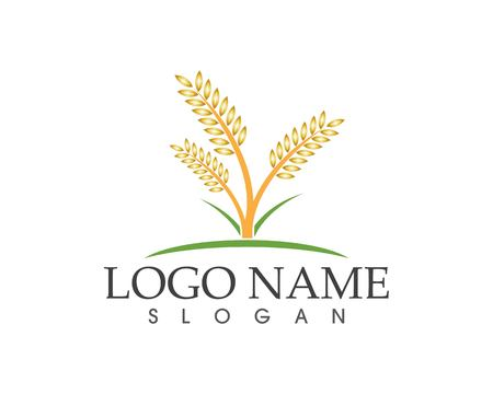 Wheat icon logo vector Çizim