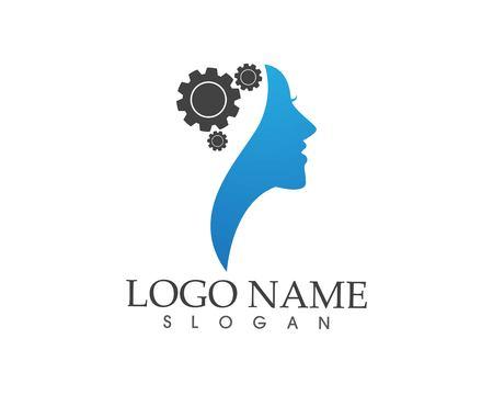 Brain woman Logo Template Logó