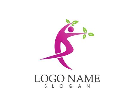 Athletic yoga people logo design