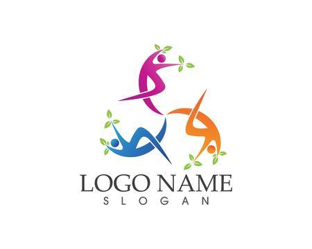 Athletic yoga people logo design