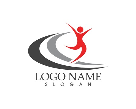 Human running vector logo template character for health Business