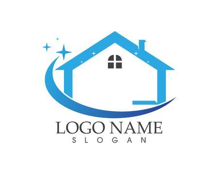 Concept de conception de logo de maison de nettoyage