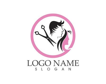 Modèle de conception de logo de style coupe de cheveux