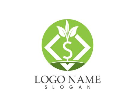 Business money plant finance logo design illustration