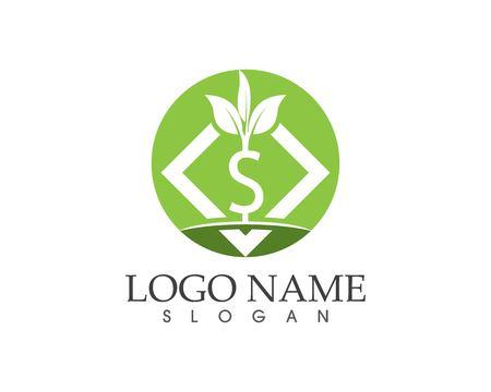 Business money plant finance logo design illustration