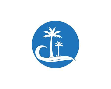 Coconute tree logo design vector template