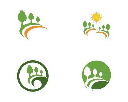 tree road logo vector Illustration