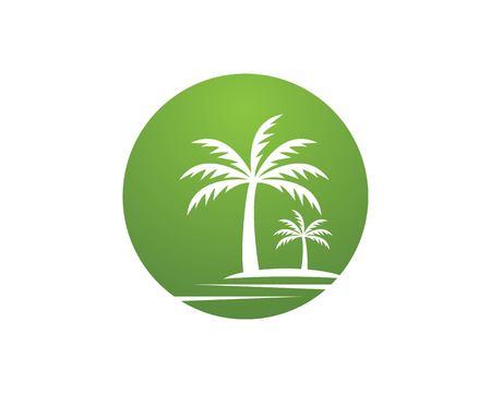 Modello di vettore di logo di vacanze sulla spiaggia di albero di cocco