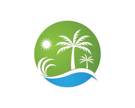 Coconut treee beach holidays logo vector template