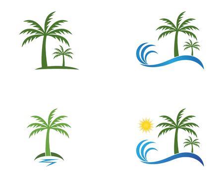 Coconut treee beach holidays vector template