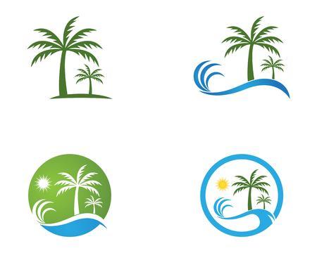 Coconut treee beach holidays vector template Vettoriali