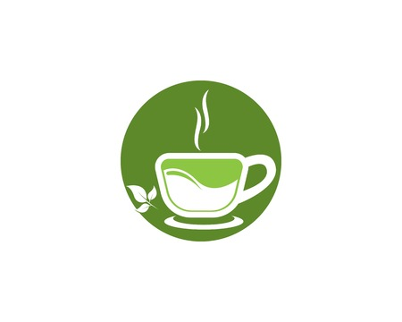 Green tea cup icon vector template