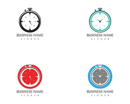 Clock icon logo design template