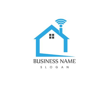 Smart home with wireless logo vector Illustration