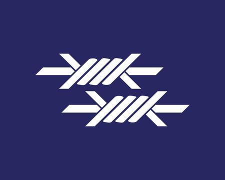 Modèle vectoriel de fil de fer barbelé icône logo