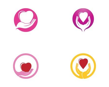 Love heart in hand logo vector template Logo