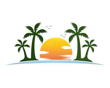 Palm tree summer logo template Logo