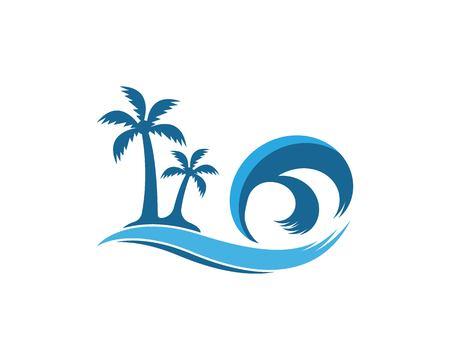 Palm tree beach holidays logo vector template Ilustrace