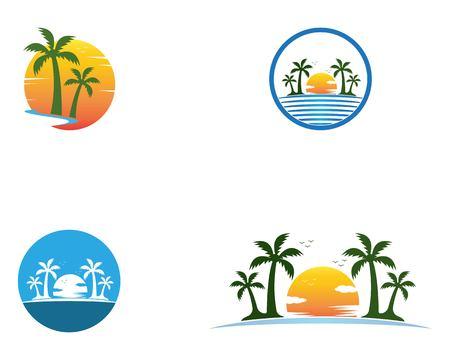 Vettore di logo di vacanze estive della palma Logo