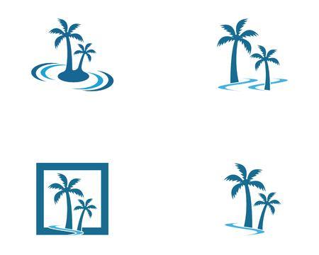 Palm tree beach holidays logo vector