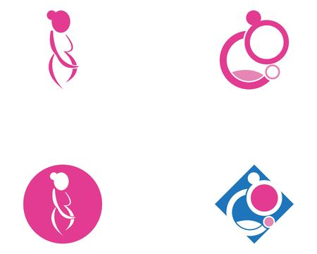 Woman pregnancy logo template vector