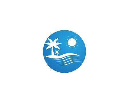 Coconut tree summer holidays logo design