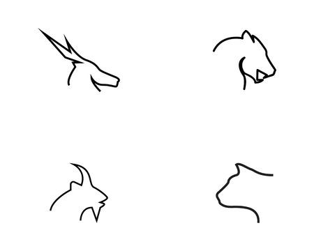 Animal set logo design vector illustration  イラスト・ベクター素材
