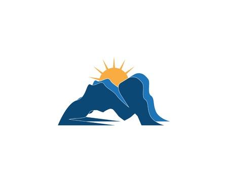 River mountain logo design vector Illustration