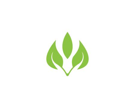 Green leaf nature logo template Ilustracja