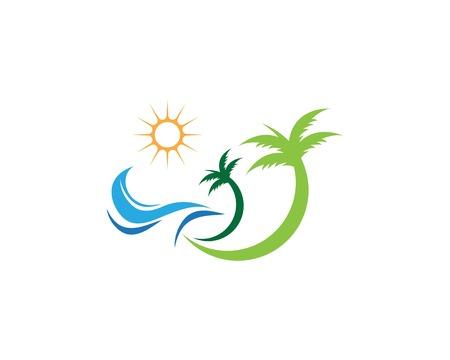 Palm tree wave beach holidays logo template