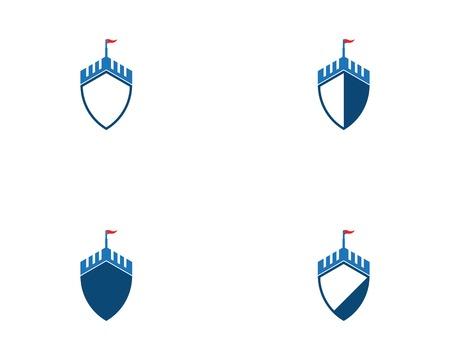 Castle shield logo vector Stock Illustratie