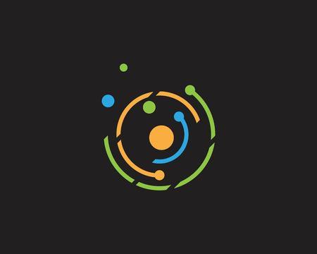 Circle line round technology logo vector