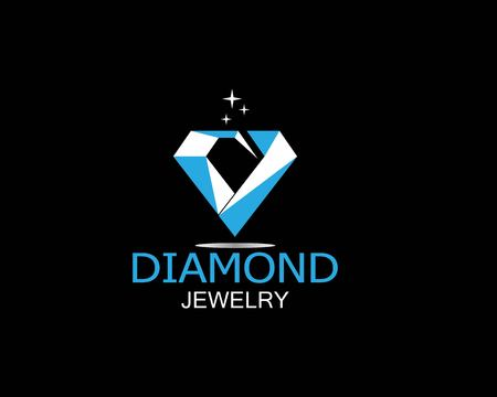Blue diamond jewelry logo vector