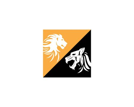 Lion and  tiger Logo Template vector icon illustration design