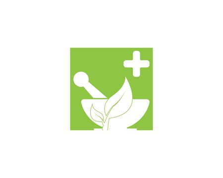 Herbal pharmacy health medical vector logo Ilustração