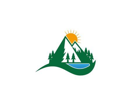 Mountain icon Logo Template Vector illustration design  イラスト・ベクター素材