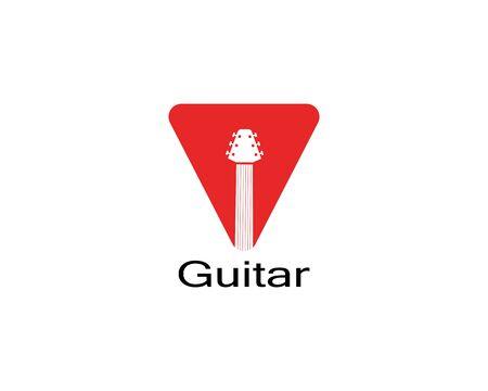Guitar music icon cartoon vector illustration template for web app