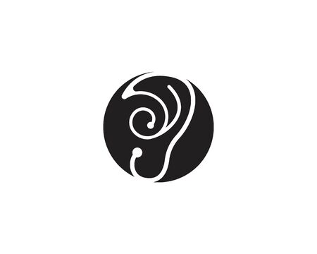 Ear icon template black color editable. hearing symbol vector sign isolated on white background. Simple logo vector illustration for graphic and web design Çizim