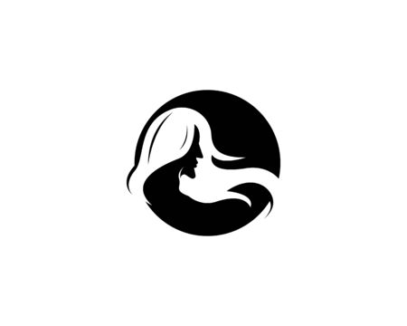 woman hair style icon and symbol silhouette vector Illustration