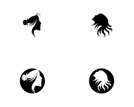 woman hair style icon and symbol silhouette vector Çizim
